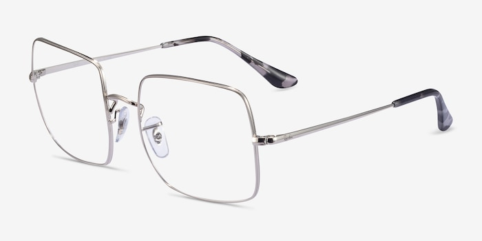 Ray-Ban Square Silver Metal Eyeglass Frames from EyeBuyDirect, Angle View