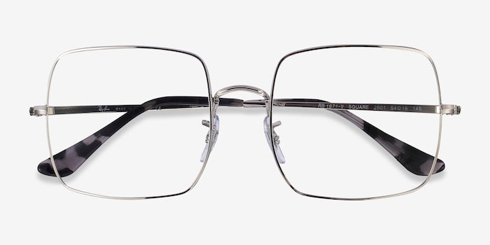 Ray-Ban Square Silver Metal Eyeglass Frames from EyeBuyDirect, Closed View