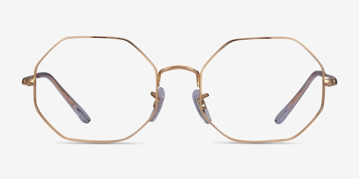 Ray-Ban Octagon Gold Metal Eyeglass Frames from EyeBuyDirect, Front View
