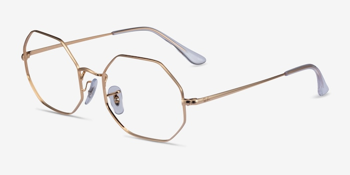 Ray-Ban Octagon Gold Metal Eyeglass Frames from EyeBuyDirect, Angle View
