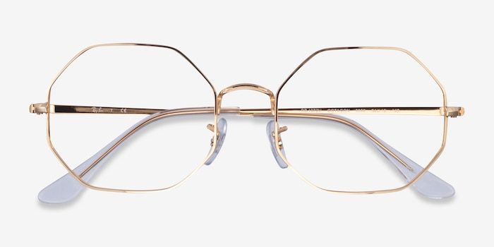 Ray-Ban Octagon Gold Metal Eyeglass Frames from EyeBuyDirect, Closed View