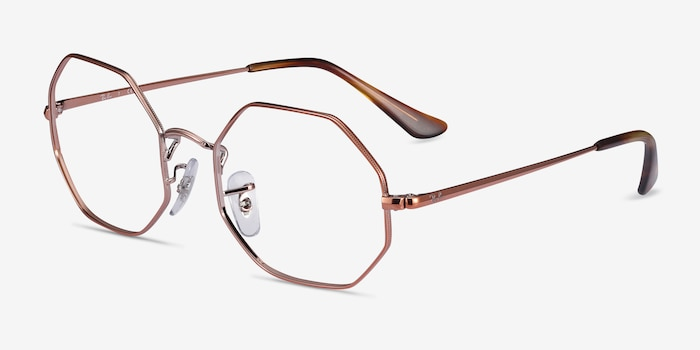 Ray-Ban Octagon Bronze Metal Eyeglass Frames from EyeBuyDirect, Angle View
