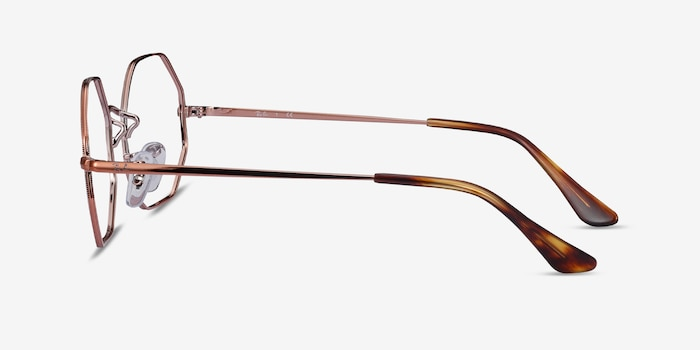 Ray-Ban Octagon Bronze Metal Eyeglass Frames from EyeBuyDirect, Side View