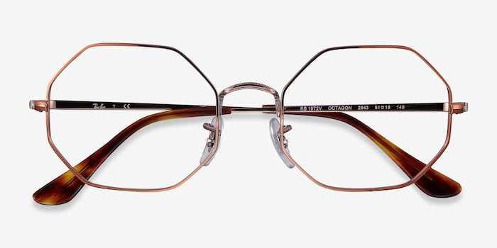 Ray-Ban Octagon Bronze Metal Eyeglass Frames from EyeBuyDirect, Closed View