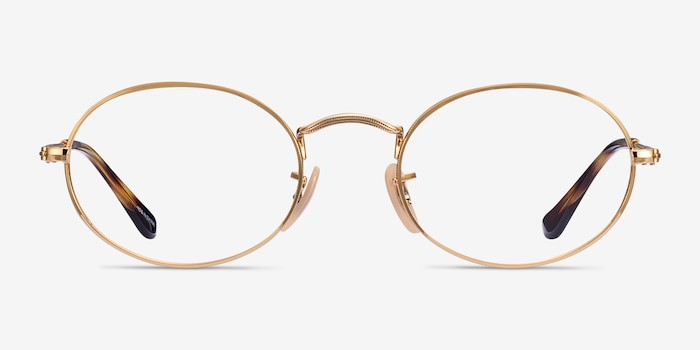 Ray-Ban RB3547V Gold Metal Eyeglass Frames from EyeBuyDirect, Front View