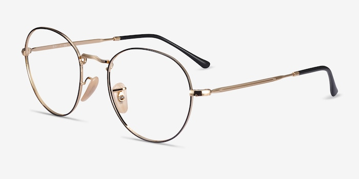 Ray-Ban RB3582V Black Gold Metal Eyeglass Frames from EyeBuyDirect, Angle View