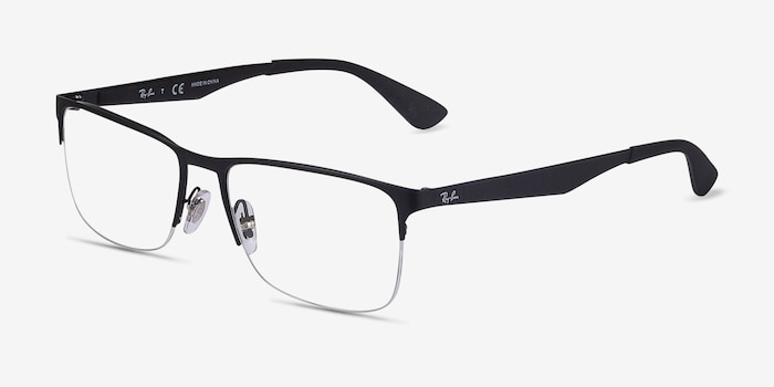 Ray-Ban RB6335 Black Metal Eyeglass Frames from EyeBuyDirect, Angle View