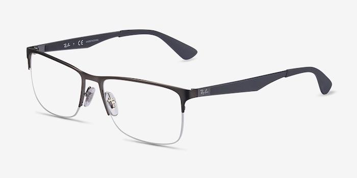 Ray-Ban RB6335 Gunmetal Metal Eyeglass Frames from EyeBuyDirect, Angle View