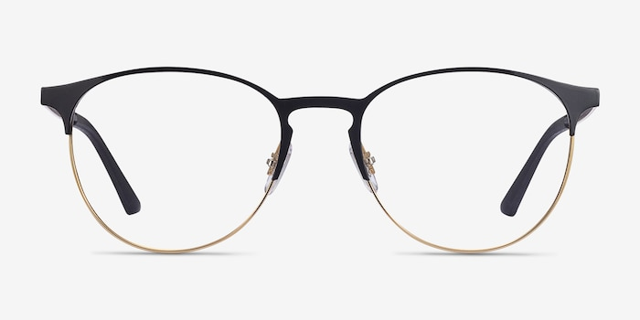 Ray-Ban RB6375 Black Gold Metal Eyeglass Frames from EyeBuyDirect, Front View