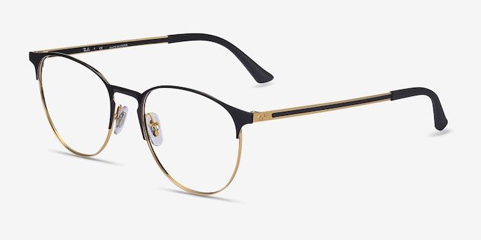 Ray-Ban RB6375 Black Gold Metal Eyeglass Frames from EyeBuyDirect, Angle View