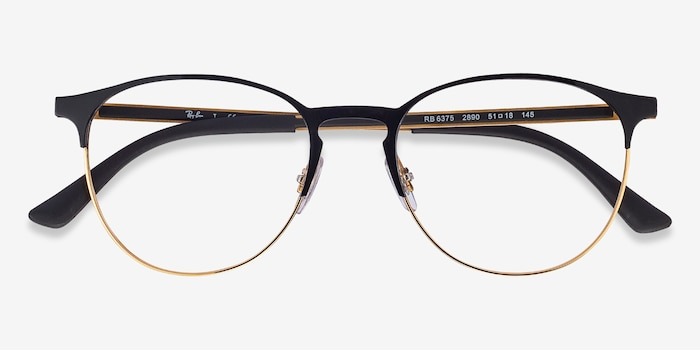 Ray-Ban RB6375 Black Gold Metal Eyeglass Frames from EyeBuyDirect, Closed View