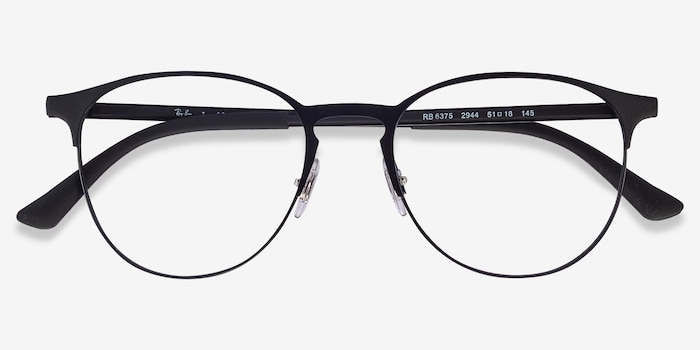 Ray-Ban RB6375 Black Metal Eyeglass Frames from EyeBuyDirect, Closed View