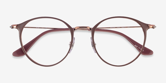 Ray-Ban RB6378 Light Brown Metal Eyeglass Frames from EyeBuyDirect, Closed View
