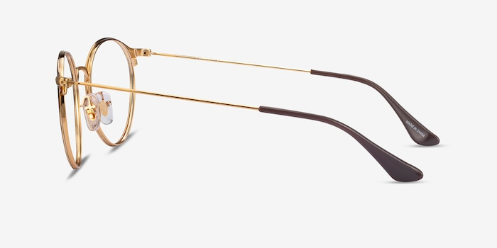 Ray-Ban RB6378 Brown Gold Metal Eyeglass Frames from EyeBuyDirect, Side View