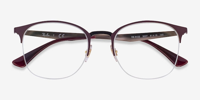 Ray-Ban RB6422 Bordeaux Gold Metal Eyeglass Frames from EyeBuyDirect, Closed View