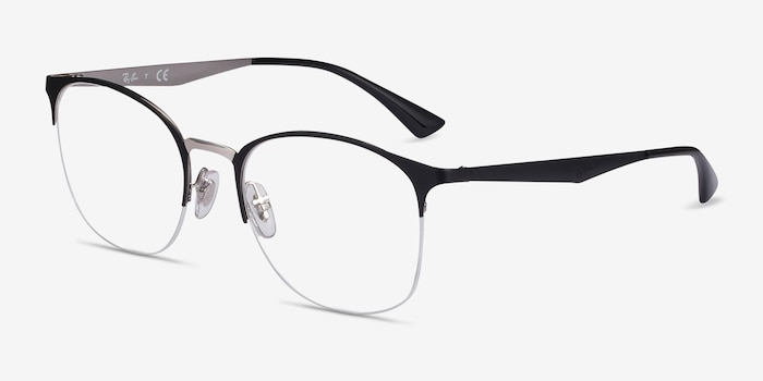 Ray-Ban RB6422 Black Silver Metal Eyeglass Frames from EyeBuyDirect, Angle View