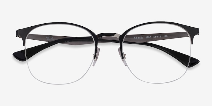 Ray-Ban RB6422 Black Silver Metal Eyeglass Frames from EyeBuyDirect, Closed View