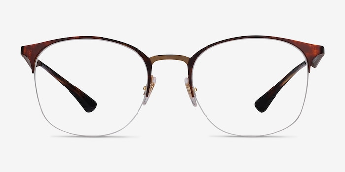 Ray-Ban RB6422 Tortoise Gold Metal Eyeglass Frames from EyeBuyDirect, Front View