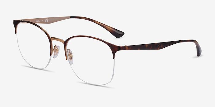 Ray-Ban RB6422 Tortoise Gold Metal Eyeglass Frames from EyeBuyDirect, Angle View