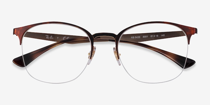 Ray-Ban RB6422 Tortoise Gold Metal Eyeglass Frames from EyeBuyDirect, Closed View
