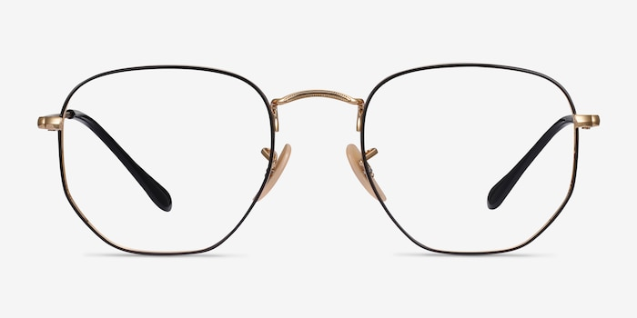 Ray-Ban RB6448 Black Gold Metal Eyeglass Frames from EyeBuyDirect, Front View