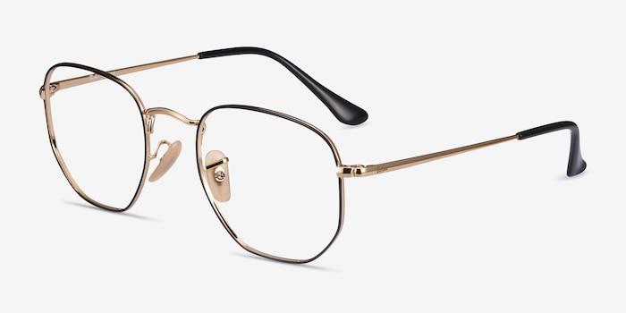 Ray-Ban RB6448 Black Gold Metal Eyeglass Frames from EyeBuyDirect, Angle View