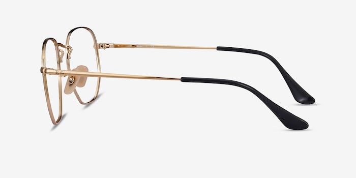 Ray-Ban RB6448 Black Gold Metal Eyeglass Frames from EyeBuyDirect, Side View