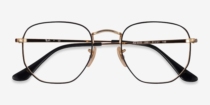 Ray-Ban RB6448 Black Gold Metal Eyeglass Frames from EyeBuyDirect, Closed View