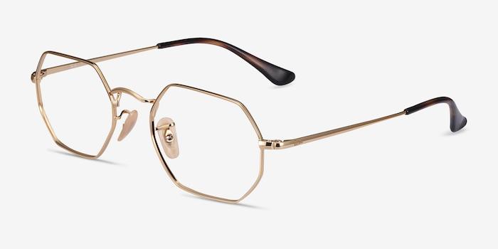 Ray-Ban RB6456 Gold Metal Eyeglass Frames from EyeBuyDirect, Angle View