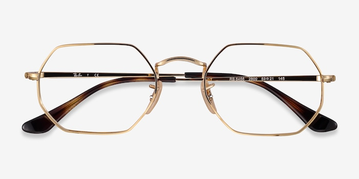 Ray-Ban RB6456 Gold Metal Eyeglass Frames from EyeBuyDirect, Closed View