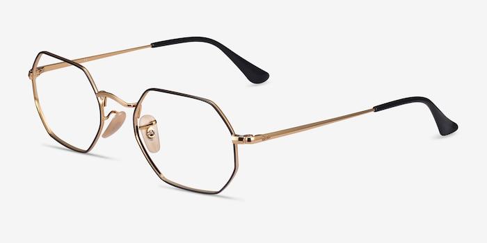 Ray-Ban RB6456 Black Gold Metal Eyeglass Frames from EyeBuyDirect, Angle View