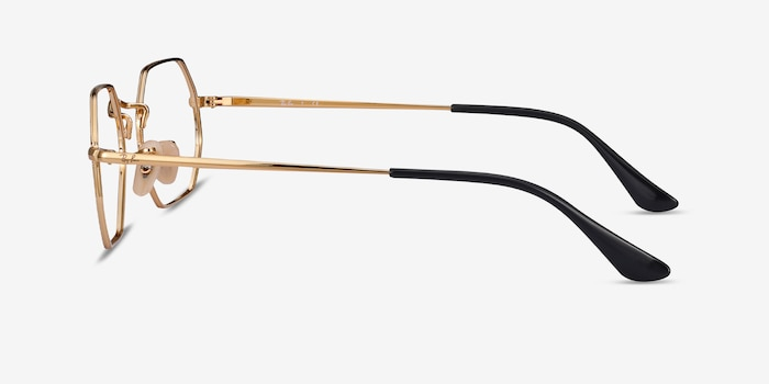 Ray-Ban RB6456 Black Gold Metal Eyeglass Frames from EyeBuyDirect, Side View