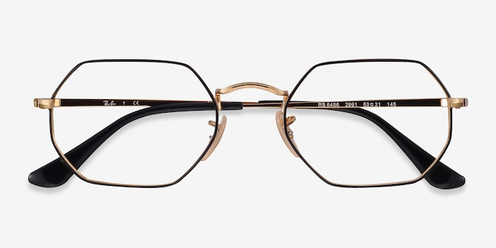 Ray-Ban RB6456 Black Gold Metal Eyeglass Frames from EyeBuyDirect, Closed View