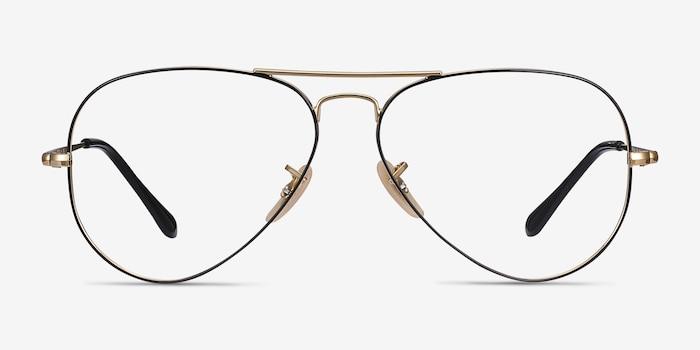 Ray-Ban RB6489 Black Gold Metal Eyeglass Frames from EyeBuyDirect, Front View