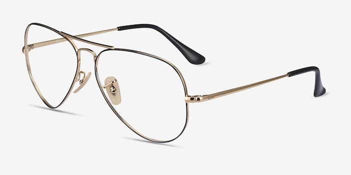 Ray-Ban RB6489 Black Gold Metal Eyeglass Frames from EyeBuyDirect, Angle View