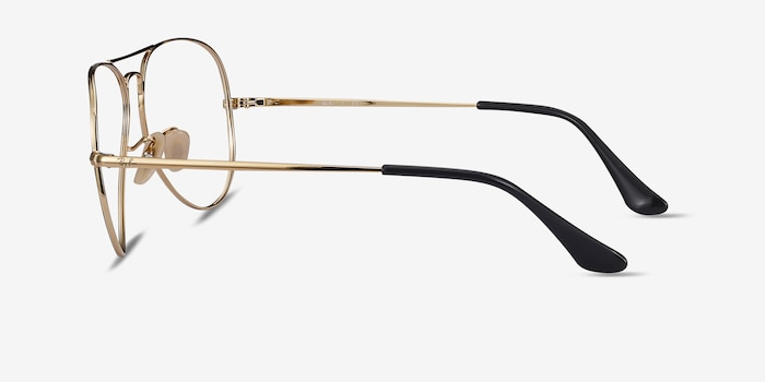 Ray-Ban RB6489 Black Gold Metal Eyeglass Frames from EyeBuyDirect, Side View