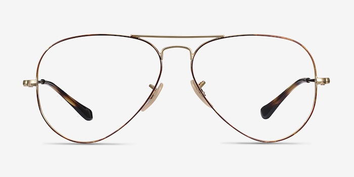 Ray-Ban RB6489 Tortoise Gold Metal Eyeglass Frames from EyeBuyDirect, Front View