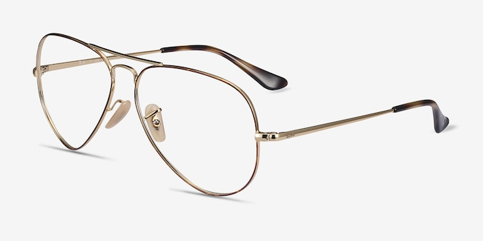Ray-Ban RB6489 Tortoise Gold Metal Eyeglass Frames from EyeBuyDirect, Angle View