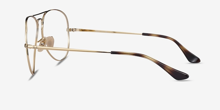 Ray-Ban RB6489 Tortoise Gold Metal Eyeglass Frames from EyeBuyDirect, Side View
