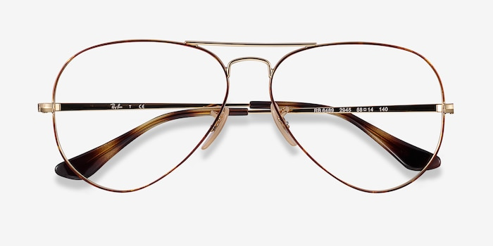 Ray-Ban RB6489 Tortoise Gold Metal Eyeglass Frames from EyeBuyDirect, Closed View