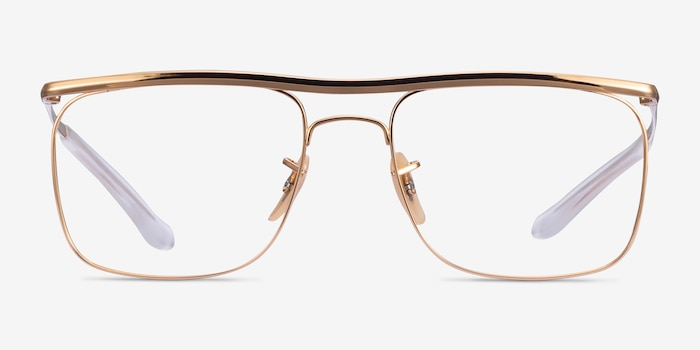 Ray-Ban RB6519 Gold Metal Eyeglass Frames from EyeBuyDirect, Front View