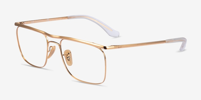 Ray-Ban RB6519 Gold Metal Eyeglass Frames from EyeBuyDirect, Angle View