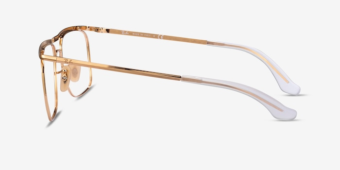 Ray-Ban RB6519 Gold Metal Eyeglass Frames from EyeBuyDirect, Side View