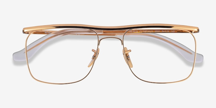 Ray-Ban RB6519 Gold Metal Eyeglass Frames from EyeBuyDirect, Closed View