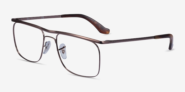 Ray-Ban RB6519 Brown Metal Eyeglass Frames from EyeBuyDirect, Angle View