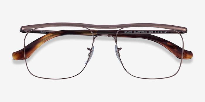 Ray-Ban RB6519 Brown Metal Eyeglass Frames from EyeBuyDirect, Closed View
