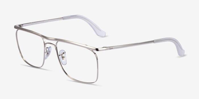 Ray-Ban RB6519 Silver Metal Eyeglass Frames from EyeBuyDirect, Angle View