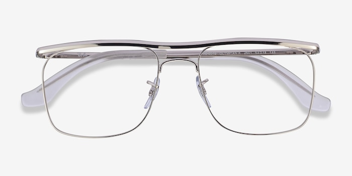 Ray-Ban RB6519 Silver Metal Eyeglass Frames from EyeBuyDirect, Closed View