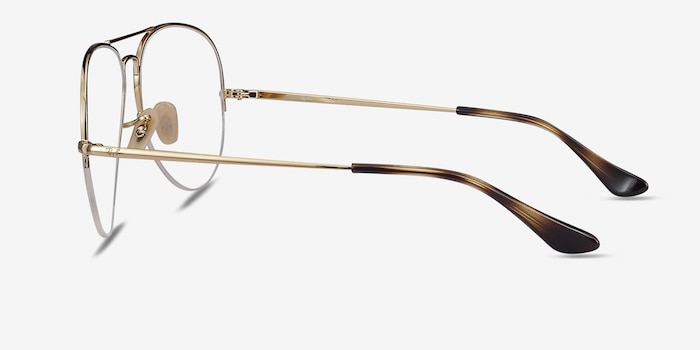 Ray-Ban RB6589 Gold Metal Eyeglass Frames from EyeBuyDirect, Side View