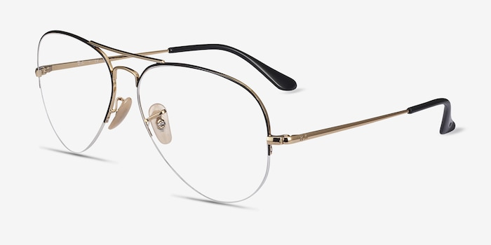 Ray-Ban RB6589 Black Gold Metal Eyeglass Frames from EyeBuyDirect, Angle View